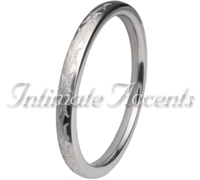 Etched Barbed Wire Stainless Steel Cock Ring