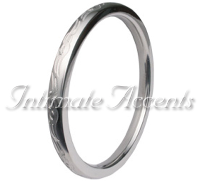 Tribal Etched Polished Seamless Stainless Steel Cock Ring - Click Image to Close