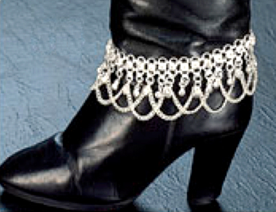 Boot Bling - Silvertone Boot Anklet with Bells