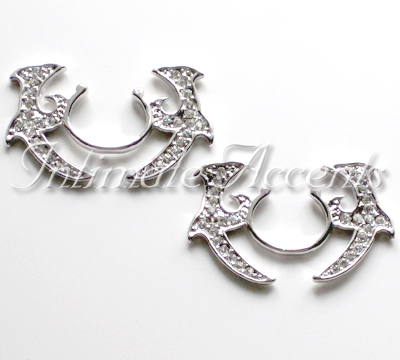 Tribal Nipple Shields with Clear Crystals [NS_1052-C]